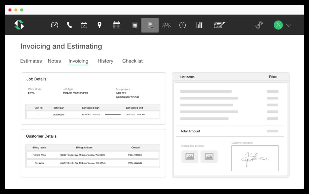 SmartServ invoicing and estimates